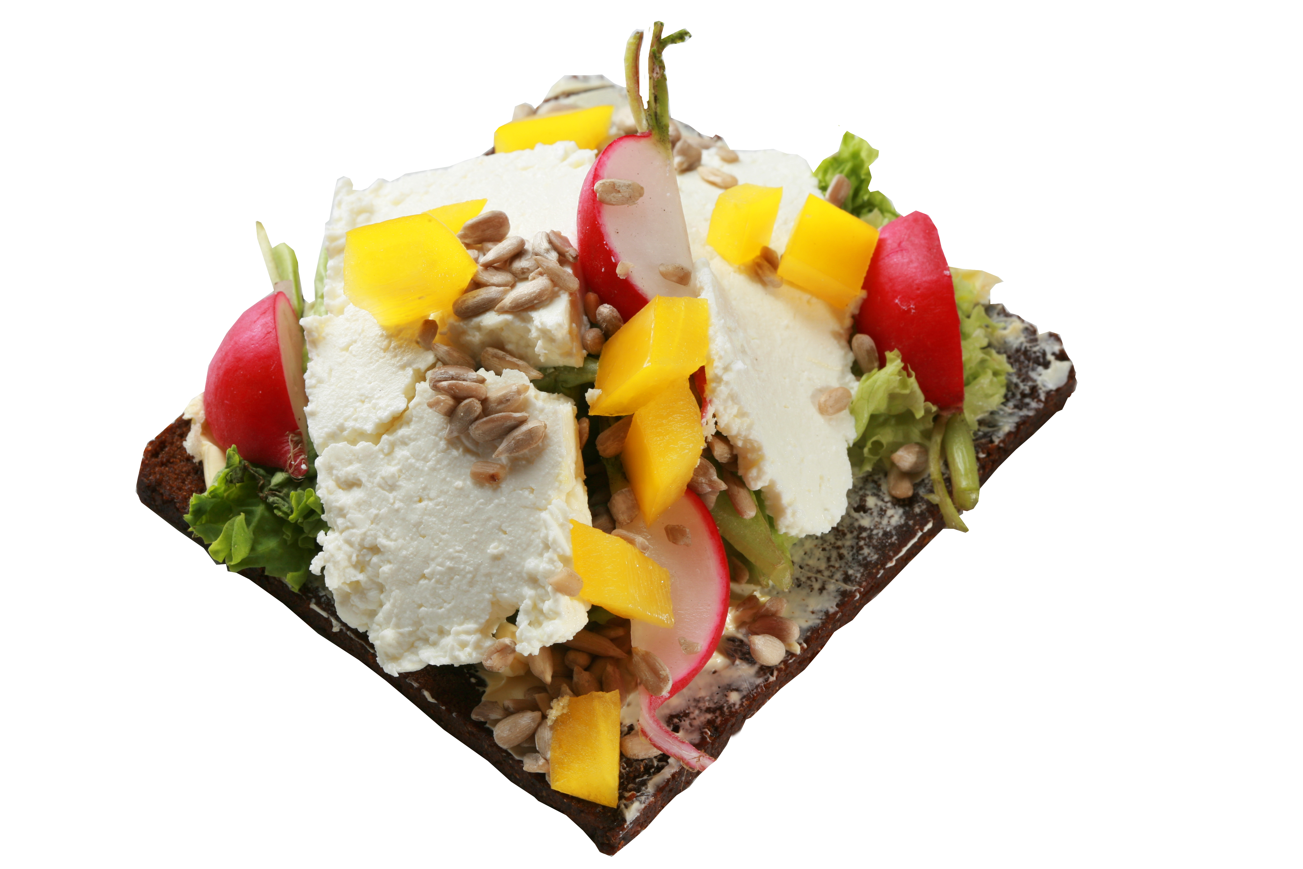 Kanapka z serem twarogowym, rzodkiewką, sałatą i pestkami słonecznika