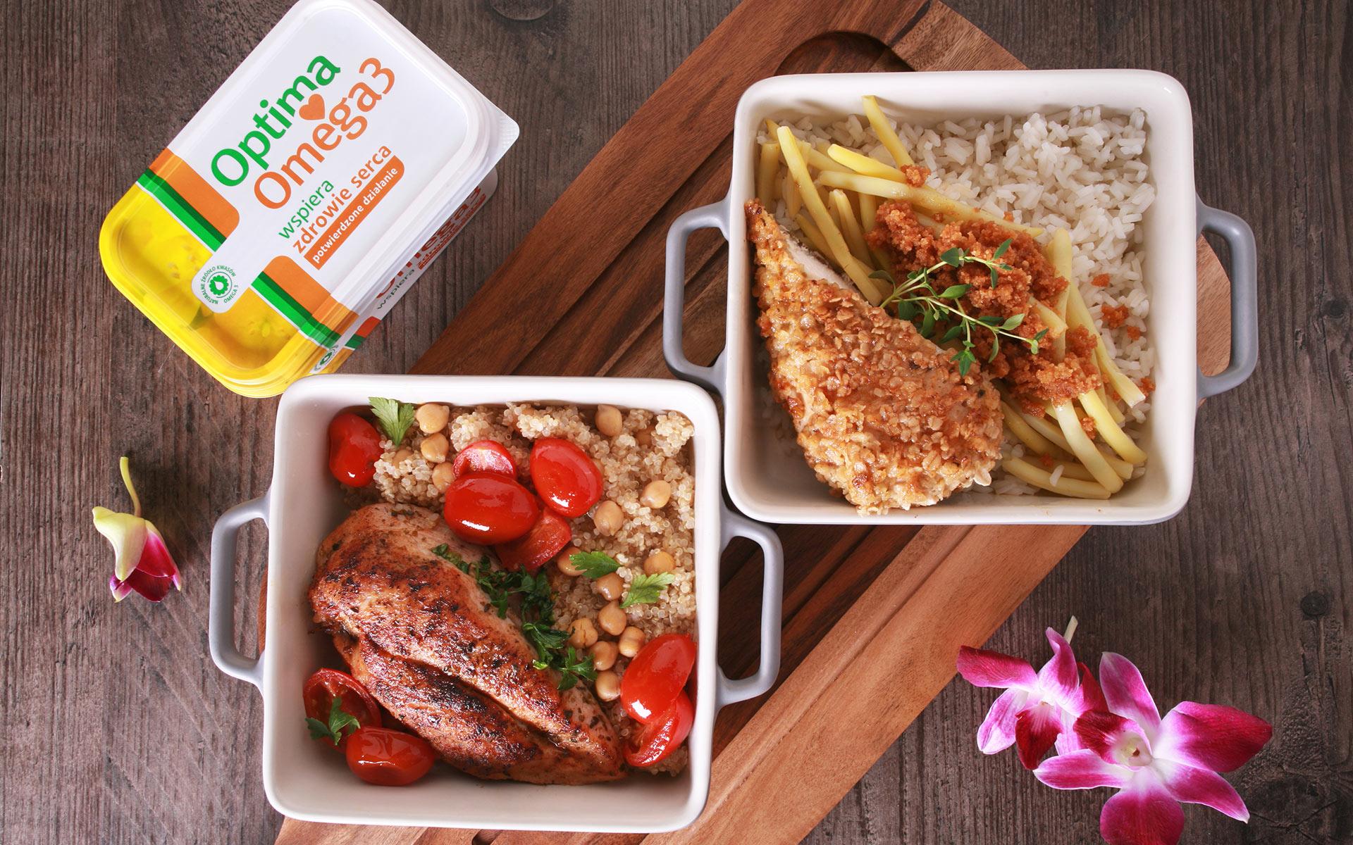 Pieczony kurczak z komosą i ciecierzycą vs. Smażony kurczak z ryżem i fasolką z bułką tartą
