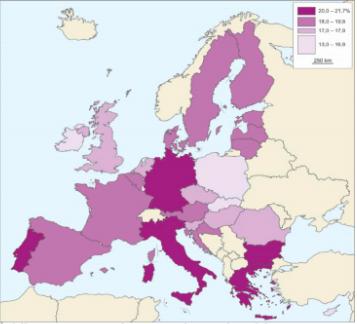Współczynnik starości w krajach UE w 2014 r.